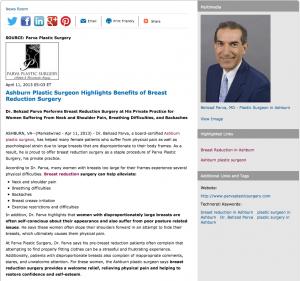 Ashburn plastic surgeon, breast reduction, Ashburn plastic surgery, Dr. Behzad Parva